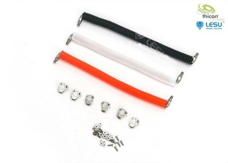 Druckluft-Kabel-Set rot/schwarz/weiß mit Anschlüss