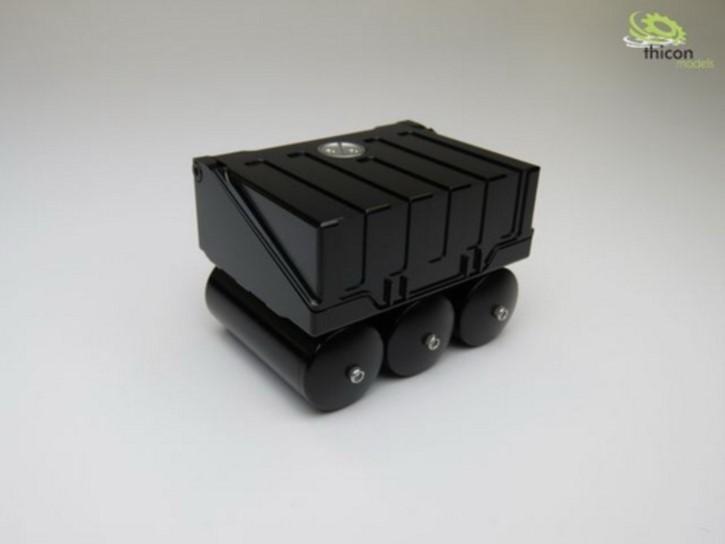 Batteriekasten aus Alu schwarz mit Druckluftkessel