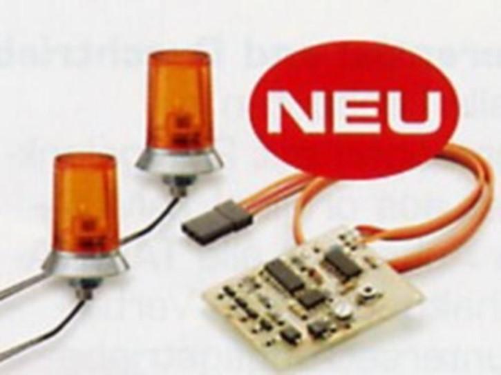 oranges Doppel-Rundumlicht mit Elektronik, 25mm