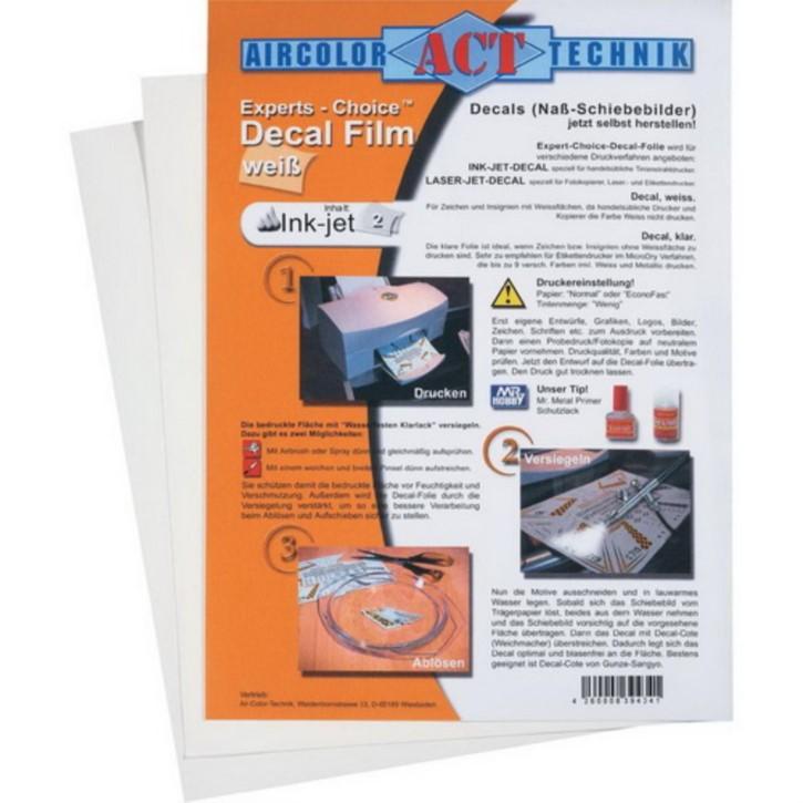 Decal-Film, weiss, 3 Blatt, für Ink-Jet