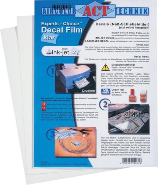 Decal-Film, klar, 3 Blatt, für Ink-Jet