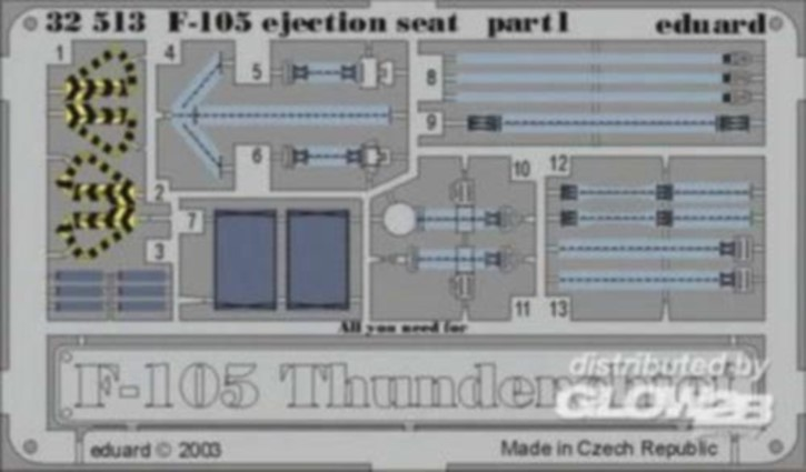 F-105 Ejection seat, Color-Fotoätzteile