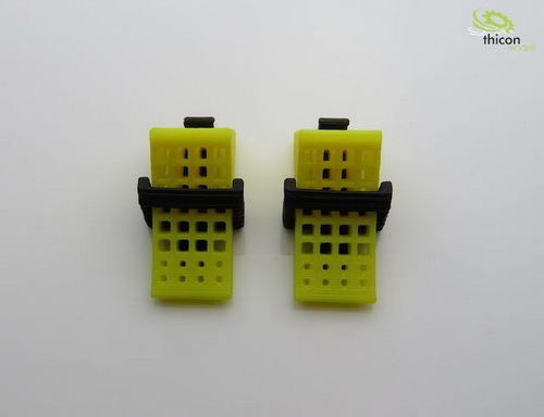 Hemmschuhe gelb mit Halter schwarz 2 Stück