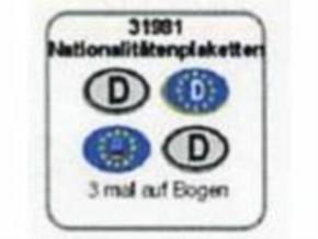 Nationalitätenplaketten D 6 Stück