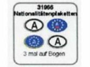 Nationalitätenplaketten A 6 Stück