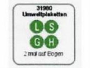 Umweltplaketten L S H  je 2 Stück