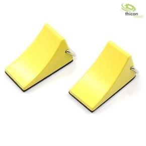 Hemmschuhe aus Metall mit Griff gelb 2Stück