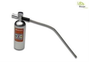 Lachgas-Druckflasche Alu silber mit Aufkleber