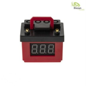 Autobatterie rot mit Spannungsanzeige und Lipo-Wäc
