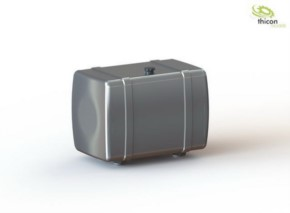 Tank 80mm silber mit Tankhalter