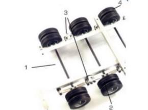 Tieflader-Achse mit Felgen, Reifen, Federn kpl.
