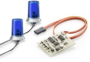 blaues Doppel-Rundumlicht mit Elektronik, 25mm