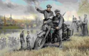 dt. WWII Motorrad R12 mit 2 Figuren