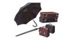 WWII Civilian Suitcase & Umbrella Set