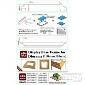 Rahmen für Dioramenplatten, holzartige Oberfläche 100 x 100 mm 2 Stück