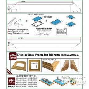 Rahmen für Dioramenplatten, holzartige Oberfläche 160 x 160 mm 2 Stück