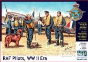 RAF-Piloten, WWII Era, 3 Figuren mit Hund