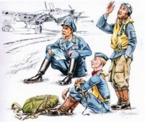 German Pilots at Rest WW II,  3 Resin-Figuren