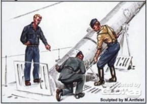 U-VII Crew beim Verladen mit Torpedo 3 Resin-Fig.